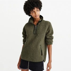 Sweaters - Olive Green Soft Sherpa Pullover